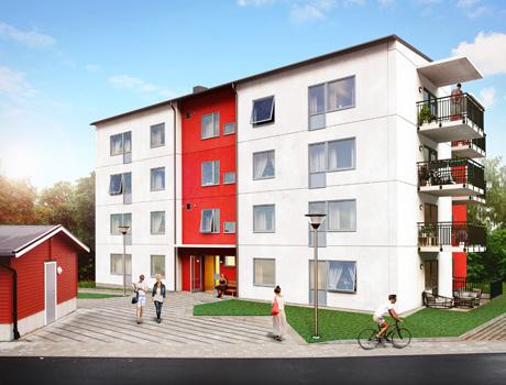 Det nya bostadsområdet Vikingavallen i Söderköping
